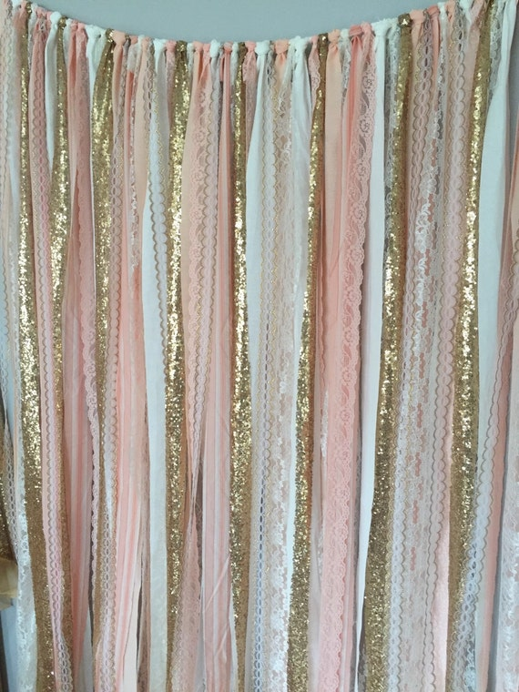 Baby Shower Backdrop Hire ~ Peach pink gold sparkle sequin fabric backdrop with lace