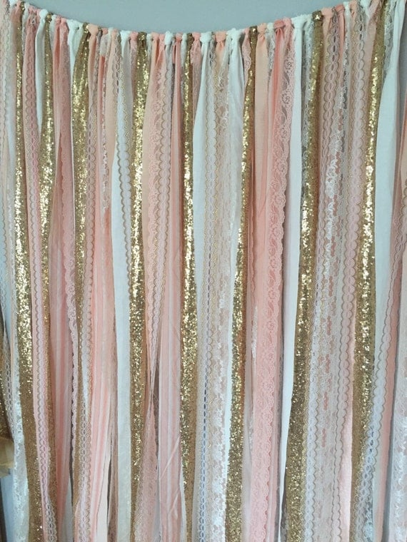 Peach Pink Amp Gold Sparkle Sequin Fabric Backdrop With Lace