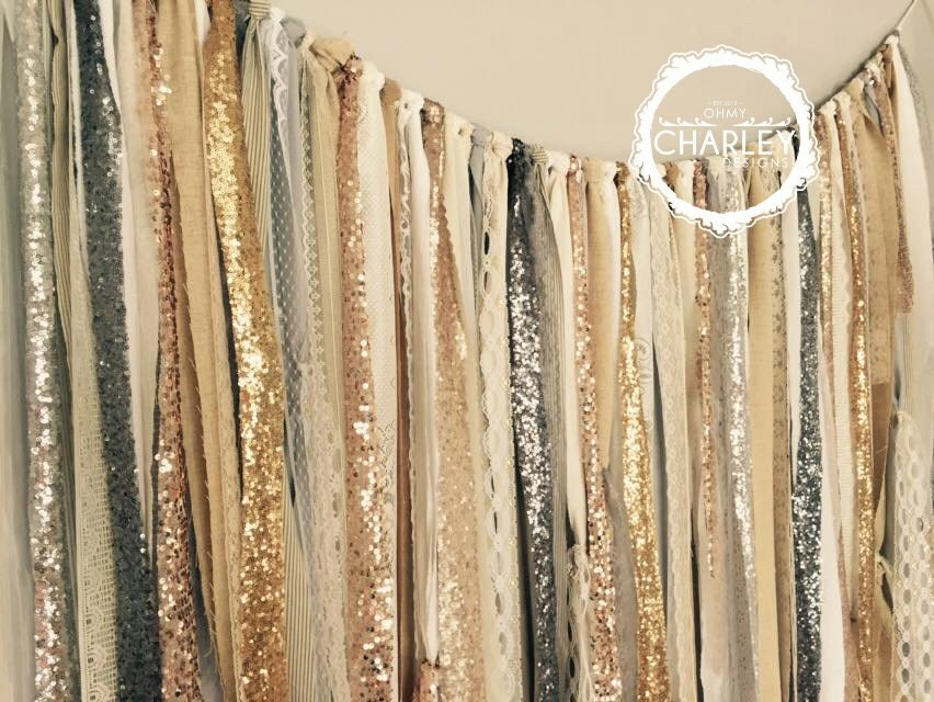 Gold Silver Champagne Rose Pewter Sequin amp Lace Backdrop