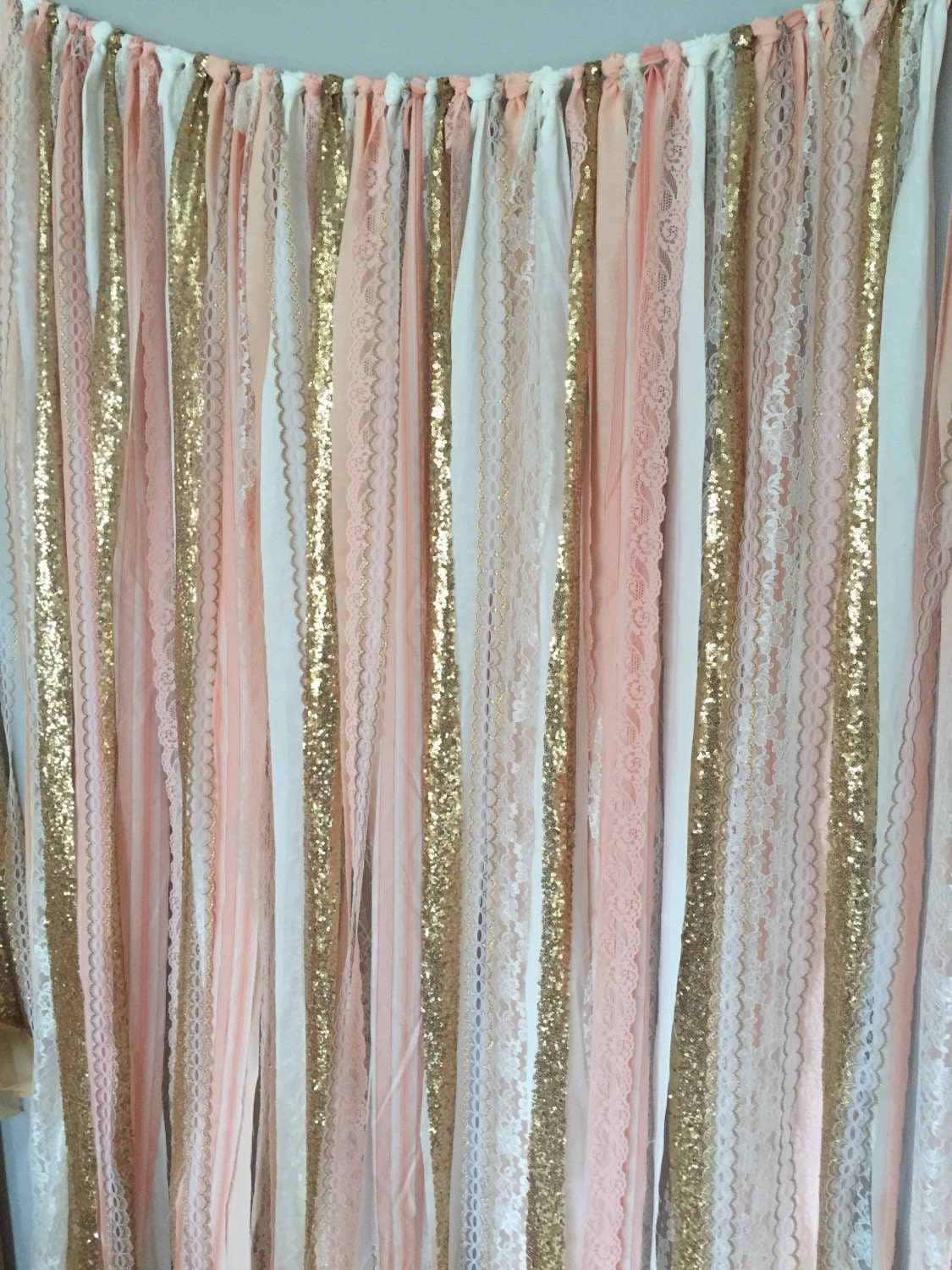 Peach Pink Gold Sparkle Sequin Fabric Backdrop With Lace