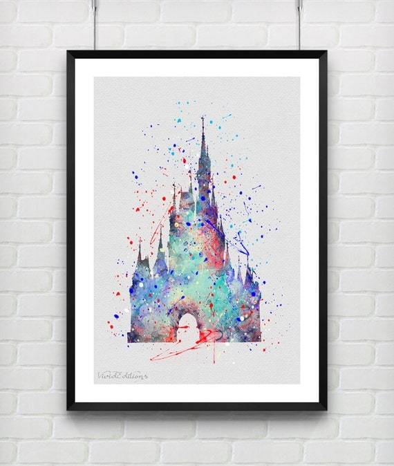 Cinderella 39 s castle disney watercolor art print by for Art sites like etsy