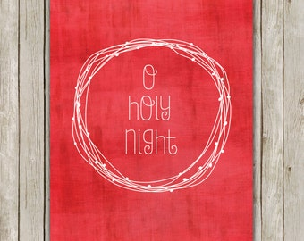 8x10 Christmas Printable, O Holy Night Art, Typography Print, Digital Nativity Art Print, Hymn Holiday Decor, Holiday Art, Instant Download