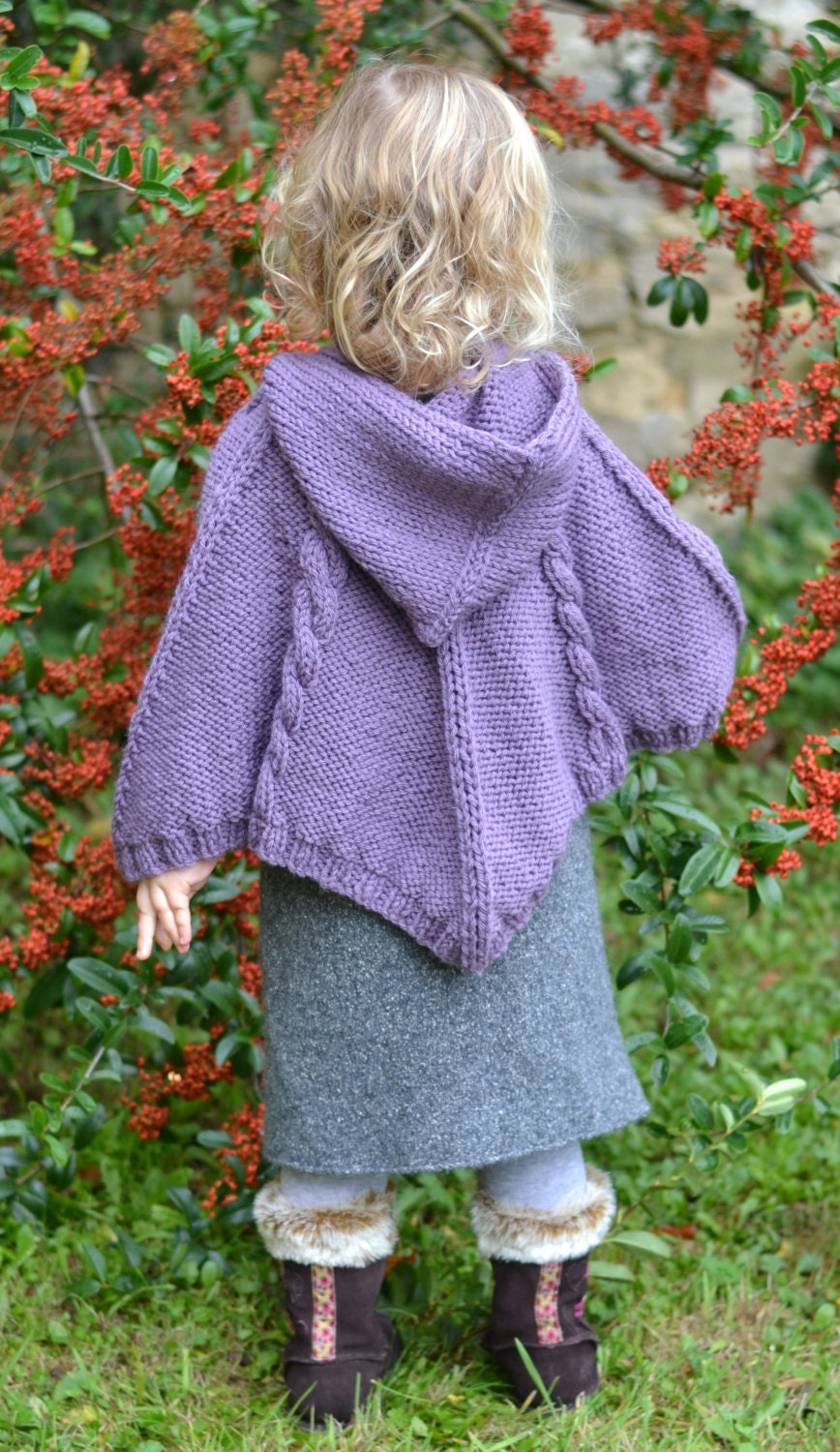 BABY KNITTING PATTERNS poncho cabled poncho pdf instant