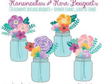 Mason Jar Bouquet ClipArt - Floral Bouquet - Flowers - Wedding ClipArt - DIY Party Invitation