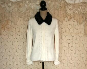 Winter White Cardigan Sweater Chenille Fur Collar Zip Up Cable Knit Sweater Nordic Ski Sweater Small Medium Jones New York Womens Clothing