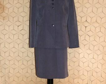 Purple Suit Kasper Skirt Suit Petite Women Suits Spring Suit Nehru Jacket Mandarin Collar Size 10 Size 12 Medium Large Womens Clothing