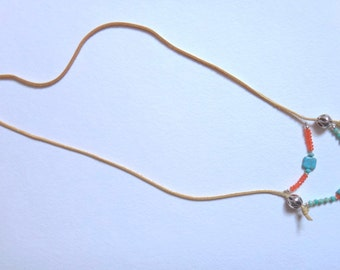 Two Tiered Beaded Necklace on Tan Leather Strap
