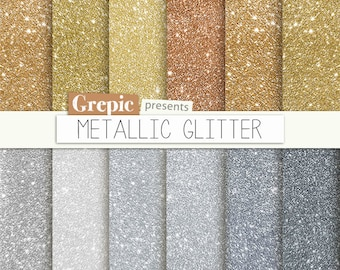 "Metallic digital paper: ""METALLIC GLITTER"" with gold 