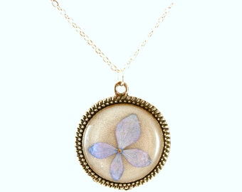 Blue hydrangea pendant, real flower pendant, floral jewelry, resin necklace -- SIMPLY BLUE
