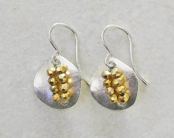 Silver Button Earrings with Faceted Golden Pyrite - Silver Earrings - Silver and Gold Earrings - Pyrite Earrings - Roca Jewelry Designs