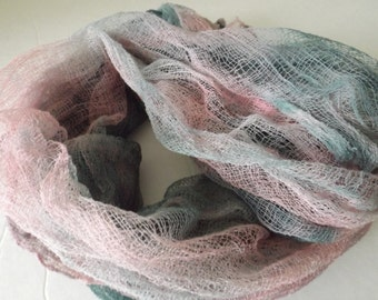 Hand Dyed Cotton Scrim,hand dye gauze, Art Cloth, Scarf for nuno felting, art and mixed media projects 011705