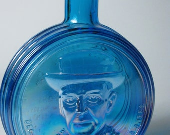 Vintage Glass Bottle President Woodrow Wilson Decanter Wheaton Blue Iridescent Carnival Glass Woodrow Quote Info Great Gift
