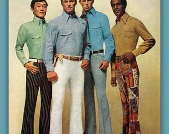 1960's Men's Groovy Fashion Bell Bottom Slacks vintage magazine ad, print, decor, ephemera, 1969