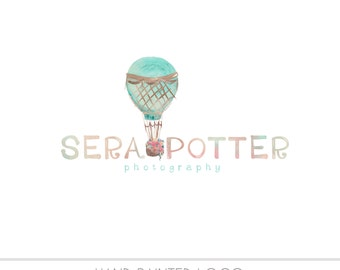CLEARANCE - Pre Made Balloon Watermark Business Logo - Watercolor,  Nature, Simple Design, Mint & Peach, Kids, Photography
