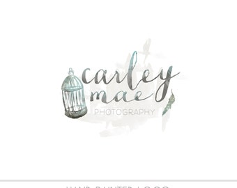 CLEARANCE - Pre made Business Logo, watercolor design, watermark, painted, bird cage, Newborn photography logo, maternity logo, birds