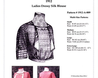 Digital Antique Sewing Pattern Multi-Size ~ Elegant 1912 Edwardian Fancy Silk Blouse - in PDF format to Print at Home - Sz Sm to XL