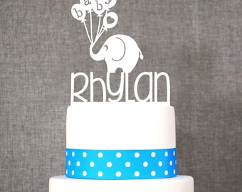 Custom Baby Name Topper With Elephant, Baby Shower Cake Topper, Cute Cake  Topper,