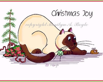 CHRISTMAS CARDS - CATS; free shipping, Fat Cats - Siamese, calico, grey, brown tabby, holidays, hand made, original art