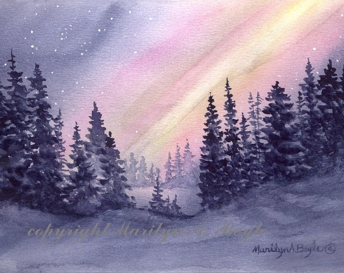 ACEO LIMITED EDITION print; night, northern lights, winter, stars, trees, Canadian wilderness,
