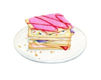 Stack of Toaster Pastries // Food Illustration // Archival Art Print