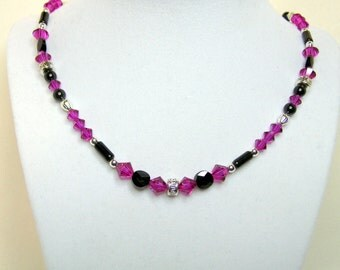 Fuchsia and Black Crystal Necklace