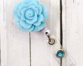 Blue Rose Sparkle Flowers  Name Badge Holder - Bottle Cap Badge Reel - Unique Retractable ID Badge Holder - Lanyard
