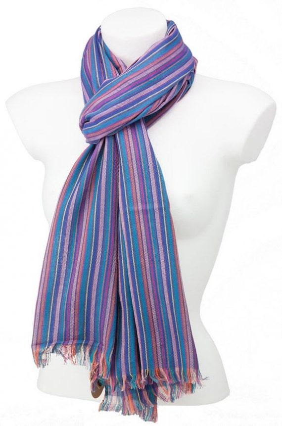 purple blue striped scarf large cotton fair trade scarf