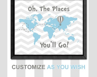 dr seuss nursery decor, world map nursery, inspirational kid art, travel playroom art, oh the places nursery, new baby gift, hot air balloon