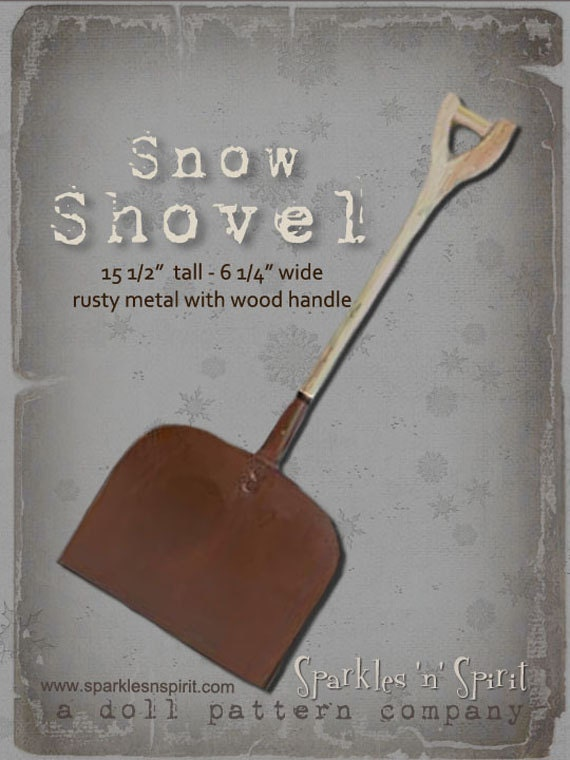 "15.5"" Rustic Wood Metal Snow Shovel for Sparkles N Spirit Dolls"