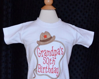 Personalized Birthday Cowboy Hat & Rope Lasso Applique Shirt or Onesie Girl or Boy