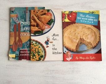 3 Vintage Cookbooks from 1950, Mary Lee Taylor, Birdseye, Susan Lowe