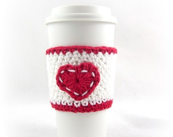 Crochet Pattern, FREE TEMPLATE Included, Valentines Day, coffee cup cozy, Coffee Mug, Heart, Knit coffee cozy, coffee cup sleeve