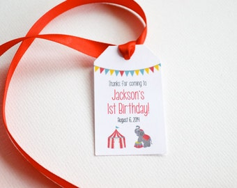 20 Label Favor Tags - Small Custom Gift and Candy Tags - Circus Birthday