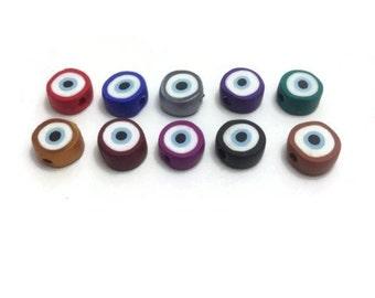Small Evil Eye Beads, Flat Evil Eye Beads, Multicolor Eye Beads, Round Evil Eye Beads, Greek Evil Eye Bead, Lucky Eye Bead, Packs of 20, 40
