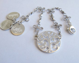Mothers Jewelry, Family Tree of Life Bracelet, Mother Daughter Jewelry, Initial Bracelet,Personalized Bridesmaid Gift, Personalized Bracelet