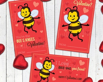 3 Printable Bee Valentines  |  Instant Download
