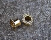 Lotus Brass Ear Tunnels, Ear Plugs, Ear Gauges, Flash Tunnels, Scretched lobes, Gauge Jewelry, Piercing Jewelry