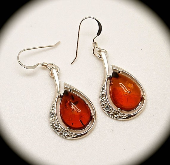 Amber Teardrop Earrings in Sterling Silver