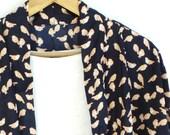 Nocturnal Robin - Bird Print Kimono Jacket - Blue / Orange Swimsuit Coverup - Short Kimono Cardigan