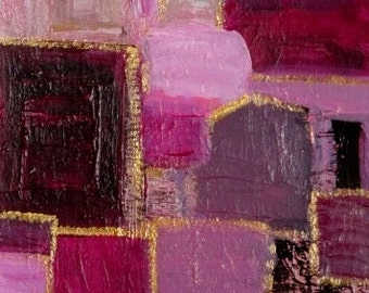 Small Abstract Painting on Paper, Original Acrylic Modern Wall Art, Pink, Brown, Gold,  Contemporary Home Decor