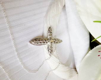 Sparkling White Topaz Cross Pendant and Chain, 925 Sterling Silver