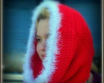 RTS Christmas Cowl, Red Hooded Cowl, Hooded Cowl, Fur Trimmed Cowl