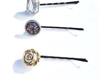 Silver and Gold Button Bobby Pins-Set of 3