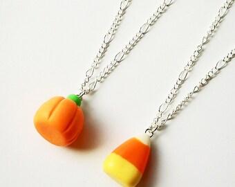 Candy Corn Necklace, Mini Food, Food Jewelry, Halloween Jewelry, Candy Corn Jewelry, Halloween, Scented Jewelry, Pumpkin Necklace