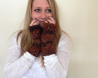 Fingerless Gloves - Wrist Warmers - Arm Warmers - Fingerless Mittens - Woodland Earth Ombre Tones