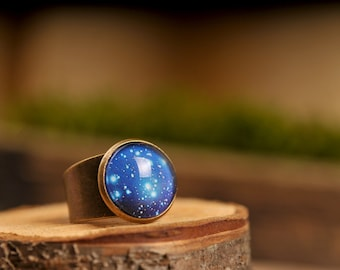 Galaxy ring, adjustable ring, statement ring, universe ring, antique brass ring, glass dome ring, space ring, world ring, galaxy jewelry