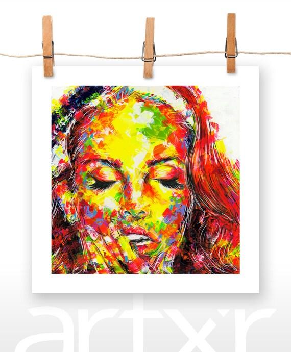 LANA DEL REY 10x10 Print of an Original Acrylic Painting entitled 'Eyes Wide Shut'