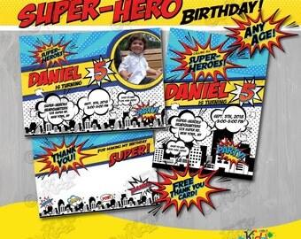SUPERHERO Birthday Invitation, SUPERHERO Party Invitation, Superhero Invitation, Super Hero Birthday, Superhero first Birthday invitation