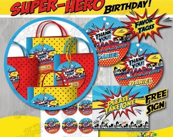 Superhero Party Favor Tags ONLY! Printable Superhero Party Favor, Superhero Birthday Favor Tags, Superhero Party favor, Super Hero Birthday