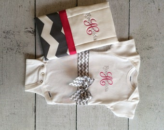 Personalized Baby girl bodysuit and burp cloth set, Create Your Own